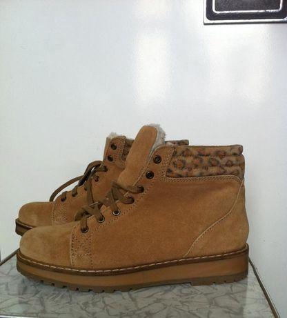 Кожаные замшевые зимние ботинки zara bershka 38 девочке