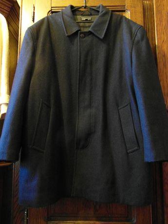 Czarna kurtka męska elegancka z flauszu, długa, duży rozmiar