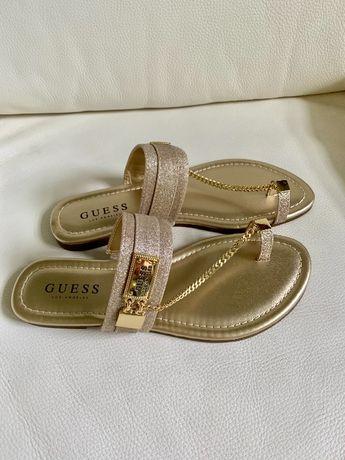 Guess logo NOWE z USA sandalki damskie zlote, rozmiar 37