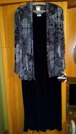 Nowy komplet żakiet i czarna długa sukienka elegancka z metką