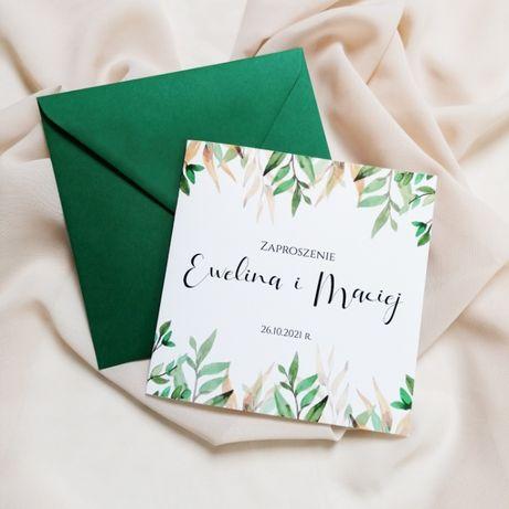 Zaproszenia ślubne zielone i złote liście