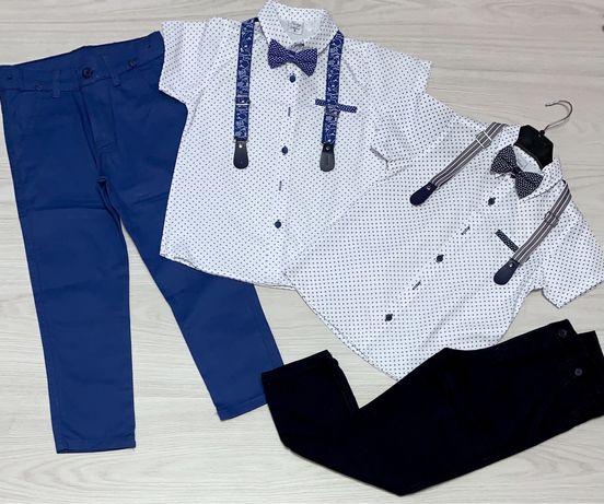 Нарядные костюмы двойка, рубашка короткий рукав с бабочкой и брюки на