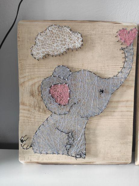 Słonik stringi art, prezent dla dziecka, chrzciny, urodziny