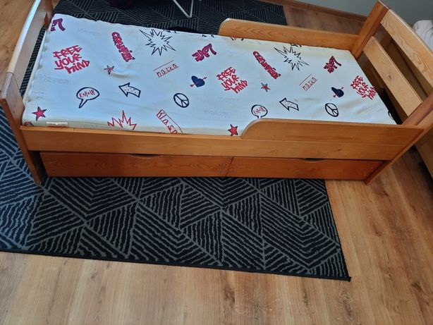 Łóżko drewniane 160x90 z materacem hevea lateksowy dziecięce