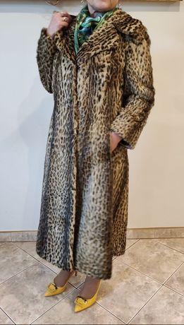 Futro długie naturalne z ocelotów płaszcz damski zimowy długi