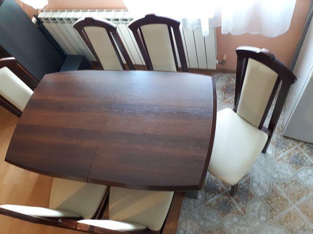 Stół + krzesła 6 krzesel rozsuwany ciemny brąz komplet bodzio meble