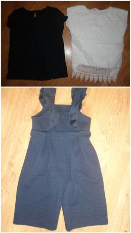 Чёрная белая школьная форма блузка комбинезон шорты Next Некст H&M