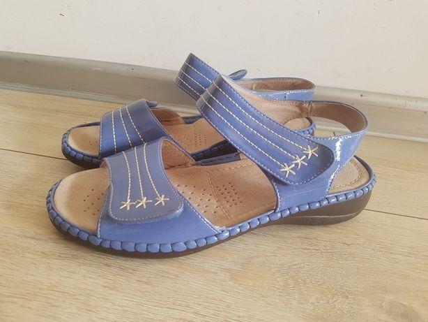 Nowe sandałki na bardzo szeroką stopę i szeroką r.43 skóra naturalna
