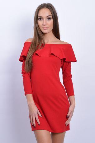 Czerwona sukienka hiszpanka długi rękaw na święta sylwester elegancka