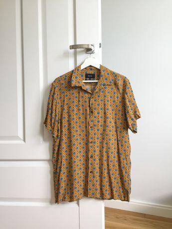 męska żółta koszula z krótkim rękawem we wzory Reserved Vintage 90's
