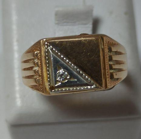 Перстень из красного и белого золота с цирконием (12637035) (12637035)