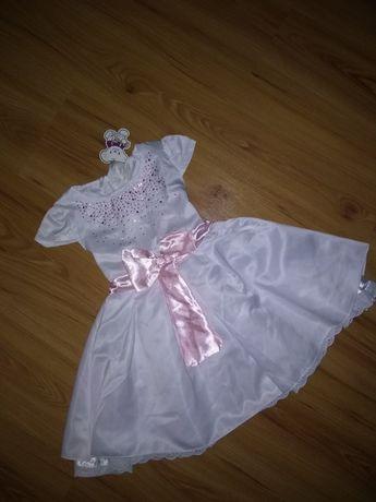 Платье нарядное,белое фатин