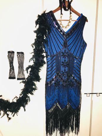 Sukienka , strój karnawałowy , lata 20 , gatsby , komplet.