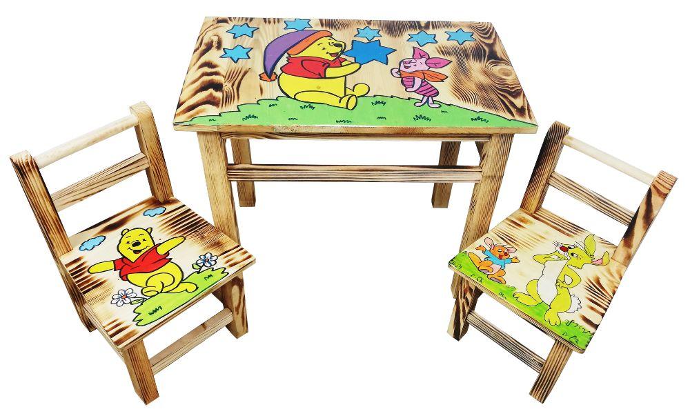 Zestaw mebli drewnianych, z rysunkiem, stolik + 2 krzesełka Chodaczów - image 1