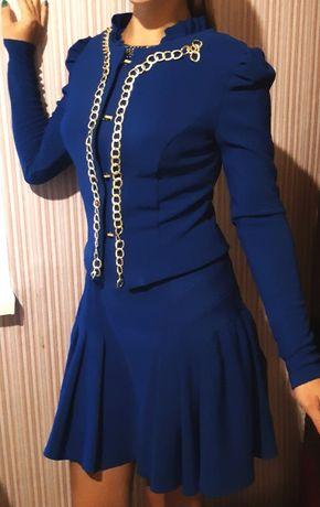 Праздничное нарядное синие платье жакет пиджак