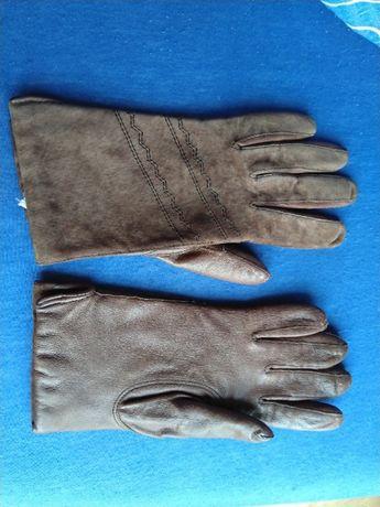 Skórzane brązowe rękawiczki roz 19