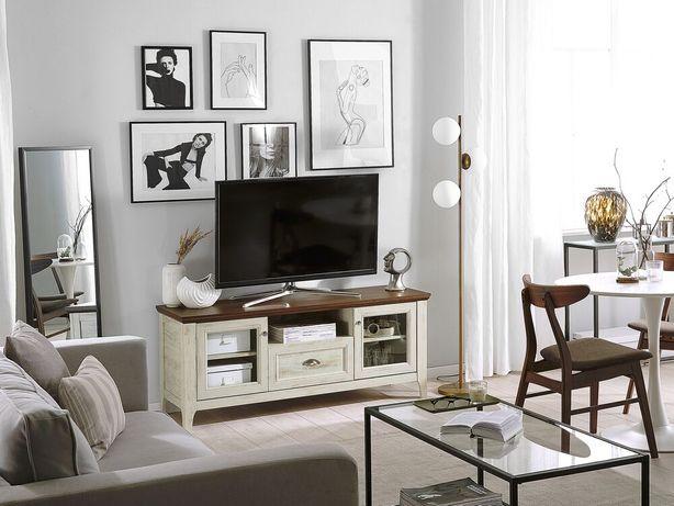 Móvel de TV branco com castanho escuro MEDAN - Beliani