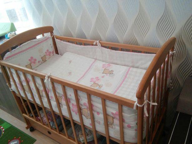 Постельное белье для девочки в детскую кроватку. Одеяло+подушка