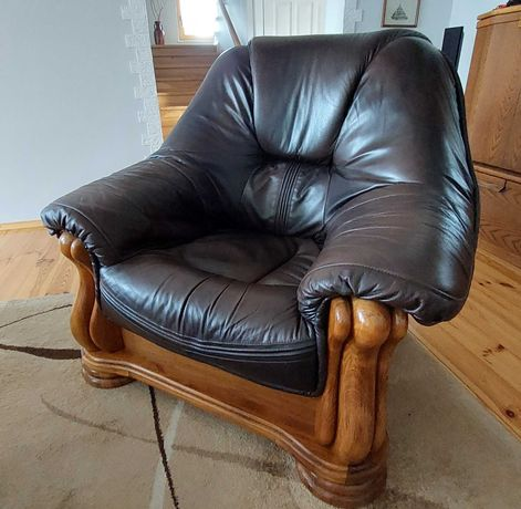 3 os. sofa + 2 fotele - skóra naturalna/drewno dębowe