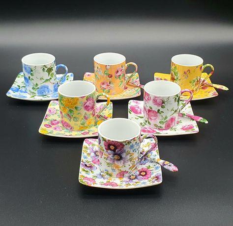 Giordano di Ponzano ,conjunto de café em porcelana pintada à mão