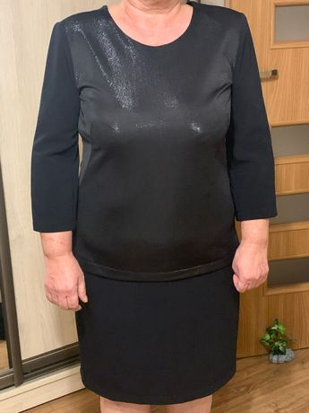 Sukienka czarna z srebrna nitka