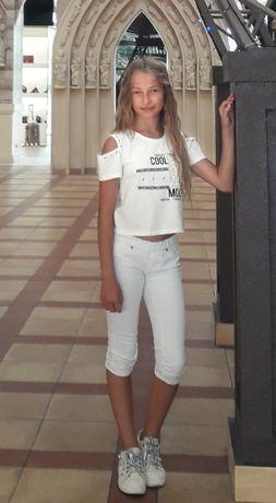 Бриджи белые,тонкий джинс