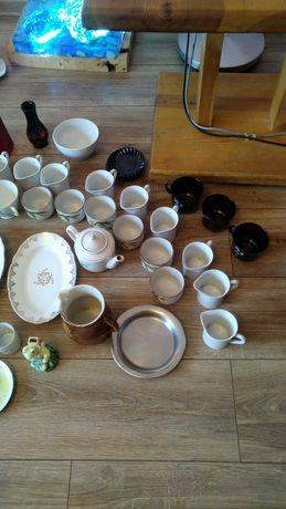 Zestaw PRL, porcelana i szkło. DUŻY ZESTAW