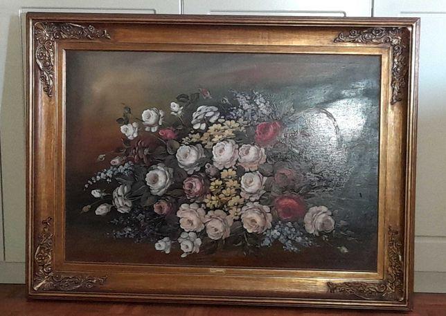 Quadro - pintura floral - a óleo sobre tela, com moldura dourada.