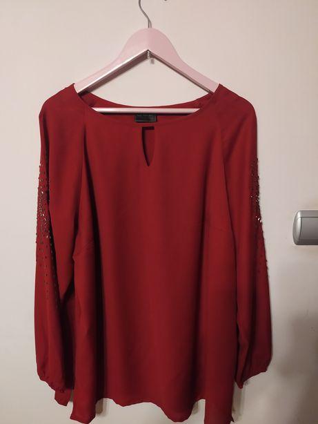 Piękna bluzka z koralikami elegancka rozmiar 46