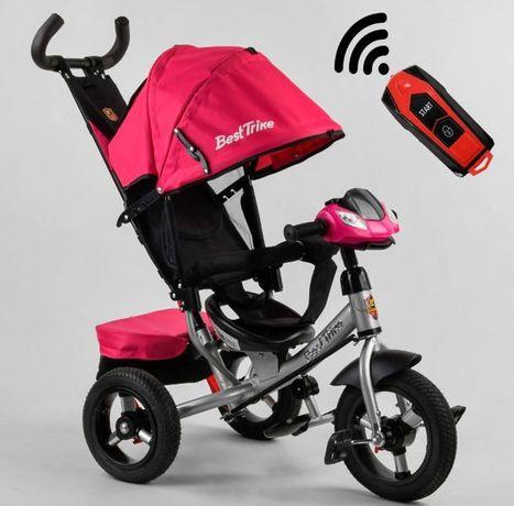 Детский трёхколёсный велосипед коляска Розовый, Надувные колёса, USB