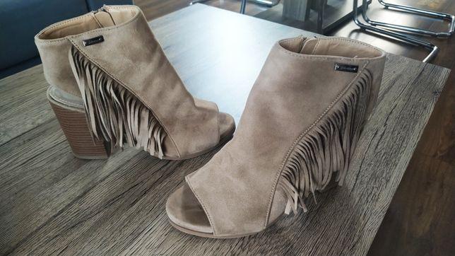 Buty damskie - botki z odkrytymi palcami i piętą