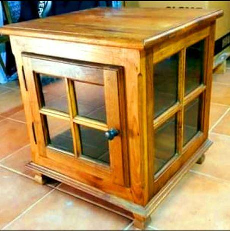 Móvel Vintage em madeira maciça castanha - Cubo Mesa de centro vint