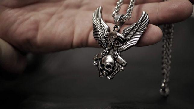 Sygnet obrączka pierścień wisiorek zawieszka rock metal moto wiking