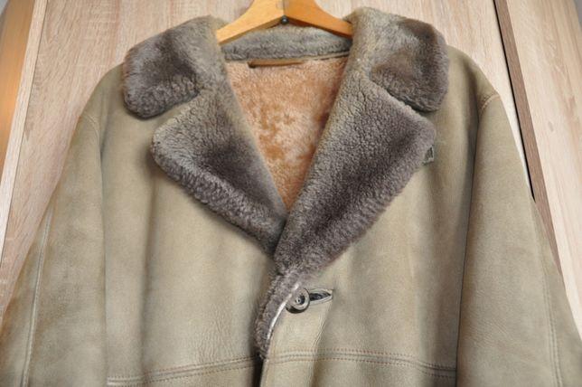 Vintage brązowy krótki kożuch męski