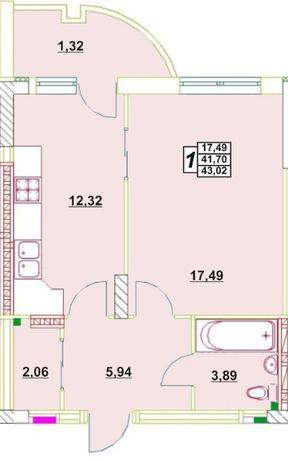 1 -комнатная квартира в ЖК Новые Черемушки 42 м.кв.