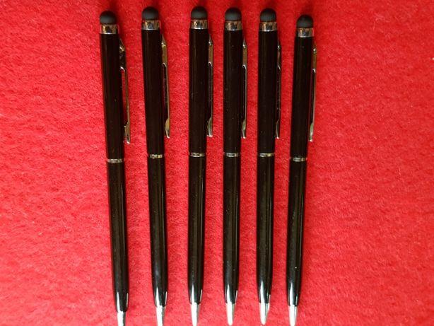 6 szt. długopisy czarne ze srebrem, cienkie