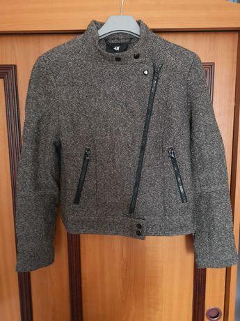 Kurtka ramoneska H&M rozm. 36 wełna tweed brązowa super jakość wiosna