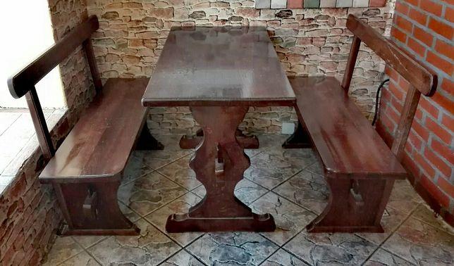 Stół dębowy + 2 ławy