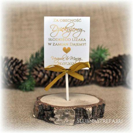 Piękne słodkie podziękowania dla gości ślub wesele lizaki