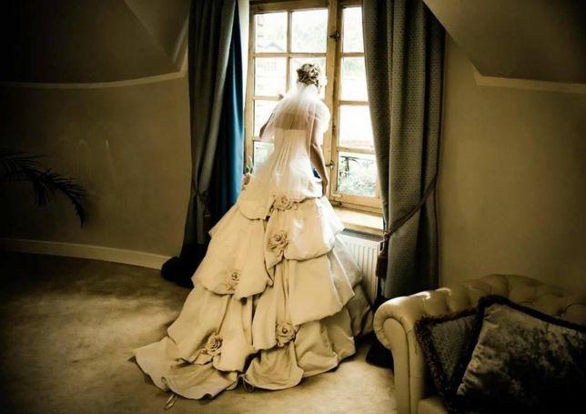 Przepiekna bajkowa suknia ślubna ivory rose r.38