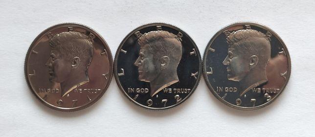 Монеты США 50 центов из наборов, S - Сан-Франциско, 1971-1972-1973S