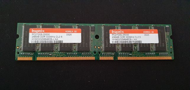 2 Memórias RAM hynix 256MB DDR1 SDRAM PC2700S-25330