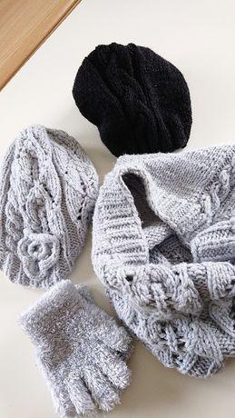 Komplet ręcznie robiony czapki, komin, rękawiczki
