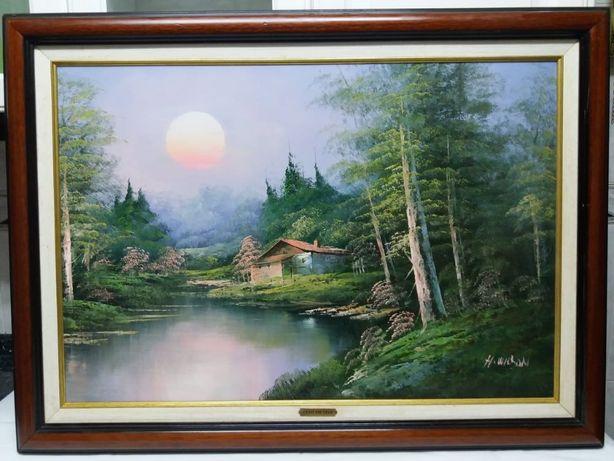 Quadro a óleo sobre tela assinado H. Wilson - sunset