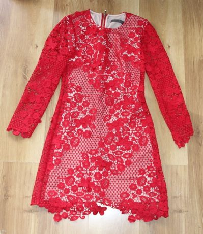yoshe czerwona sukienka koronkowa koronka 36 s kors solar massimo duti