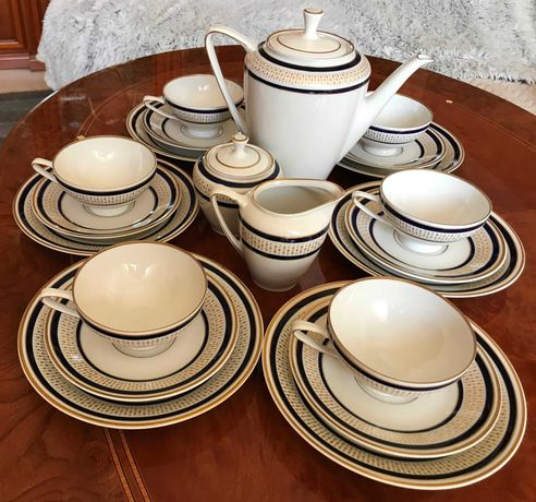 Reichenbach Fine China Echt Kobalt serwis kawowy 6 osob, porcelana
