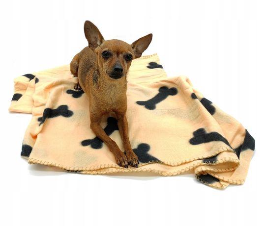 Koc legowisko narzuta posłanie dla psa 160x100cm Kremowy w kości