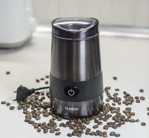 Кофемолка Magio/Italy, 250Wt, 18х10х10см, графит/алюминий