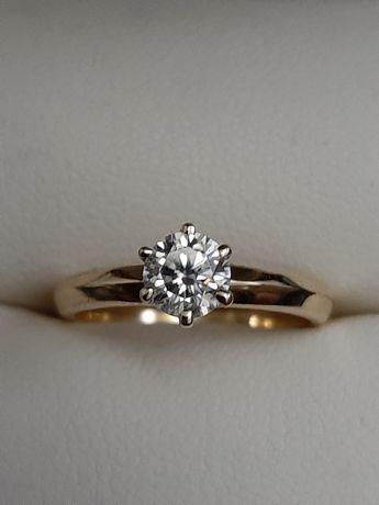 Золотое кольцо Tiffany с бриллиантом 0 5 карат
