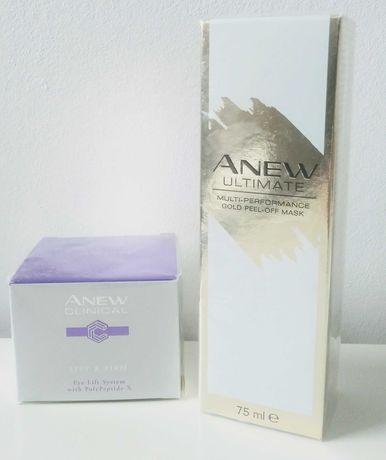Avon Anew kosmetyki maseczka odmładzająca + krem pod oczy lift&firm